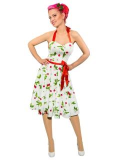 Hearts and Roses Rockabilly 50er Neckholder Kleid Kirschen weiss-bunt