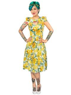 Hearts and Roses Rockabilly 50er Kleid Blumen weiss-gelb