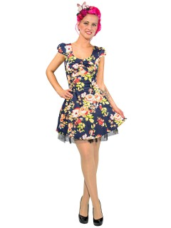 Hearts and Roses Rockabilly 50er Petticoat-Kleid Blumenmuster blau-bunt