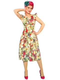 Hearts and Roses Rockabilly 50er Petticoat-Kleid Floraler Print bunt