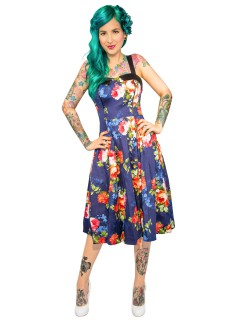 Hearts and Roses Rockabilly 50er Petticoat-Kleid Blumenmuster dunkelblau-bunt
