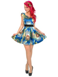 Hearts and Roses Rockabilly 50er Petticoat-Kleid Animal Print bunt