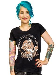 Veganer-Damenshirt Girlie-Shirt Vegan-Power schwarz-braun