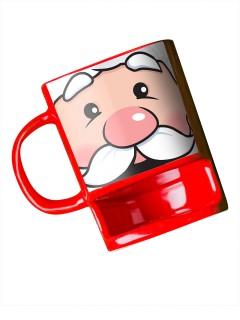 Weihnachtsmann Tasse mit Keksfach rot-weiss 150ml