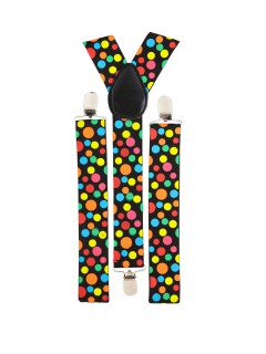 Clown Hosenträger mit Punkten schwarz-bunt
