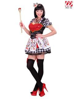 Herzkönigin Märchen Damenkostüm weiss-rot-schwarz
