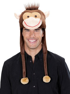 Affe Mütze Plüsch braun