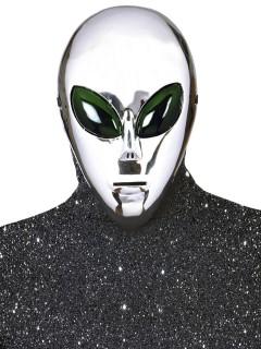 Alien Maske Ausserirdischer silber