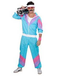 80er Jahre-Kostüm für Herren Trainingsanzug türkis-lila-pink