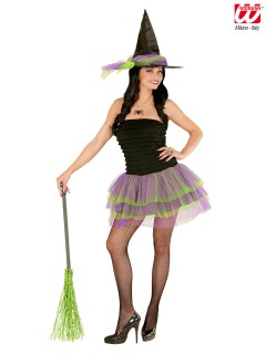 Sexy Hexe Halloween Damenkostüm schwarz-lila-grün