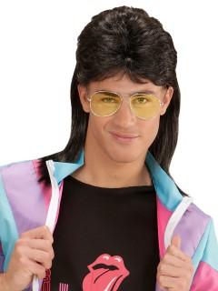 80er Jahre Vokuhila Perücke mit Brille schwarz-gelb
