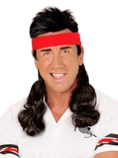 80er Jahre Stirnband mit Vokuhila Haarteil schwarz-rot