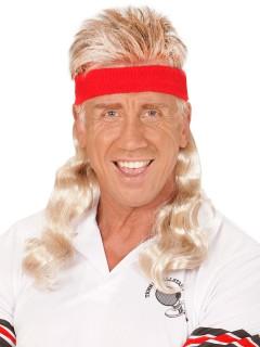 80er Jahre Stirnband mit Vokuhila Haarteil blond-rot
