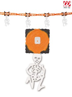 Skelett Girlande Halloween Party-Deko orange-weiss 300x31cm