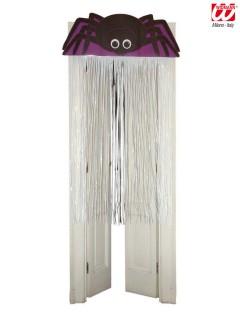 Spinne Halloween Tür Deko lila-schwarz-weiss 90x165cm