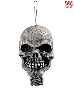 Totenschädel Halloween Hängedeko grau 15cm
