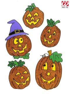 Kürbis Halloween Fenster Sticker Glitzer 5 Stück orange 11-18cm