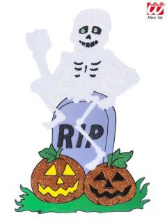 Skelett auf Grabstein Halloween Fenster Aufkleber Glitzer bunt 25x38cm