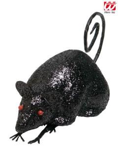 Glitzer Maus Halloween Deko schwarz 30x5x7cm