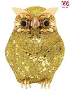 Glitzer Eule Halloween Deko gold 10,5x4,5x4,5cm