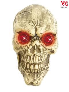 Totenkopf mit leuchtenden Augen Halloween Wanddeko weiss-rot 25cm