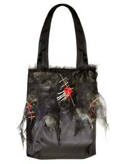 Zombie Halloween Tasche mit Skeletthand schwarz