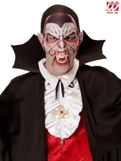 Blutiger Vampir Halloween Gesichtsmaske kinnlos weiss-schwarz