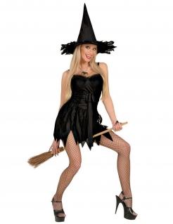 Sexy Hexen-Kostüm für Damen Halloweenkostüm schwarz