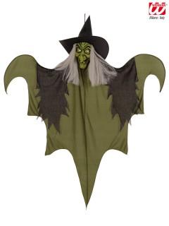 Hexe Halloween-Hängedeko grün-schwarz 60cm