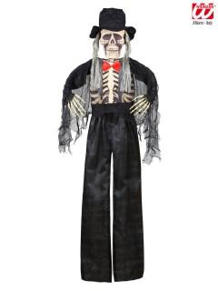 Skelett-Bräutigam Halloween Deko schwarz-beige 153cm