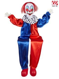 Animierter Horror Clown mit Leuchtaugen und Sound Halloween Deko schwarz-weiss 90cm
