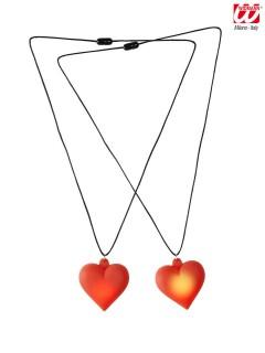Halskette mit leuchtendem Herz rot-schwarz