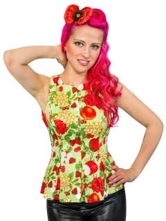 50er-Top für Damen mit Fruchtmuster gelb-rot-grün