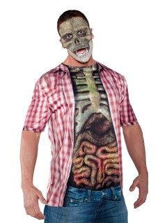 Halloween Zombie T-Shirt Gedärme Karo-Muster bunt