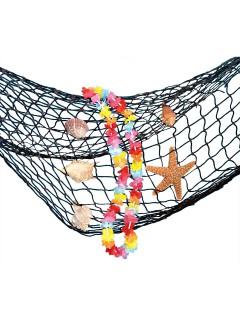 Fischernetz mit Muscheln und Blumenkette Party-Deko schwarz-bunt  33x28cm
