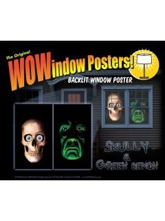Totenschädel und Monster Halloween Fensterdeko-Set 2-teilig bunt 91x152cm