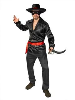 Bandit Räuber Kostüm schwarz-rot-weiss