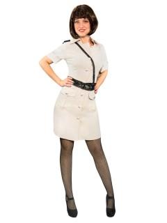 Sexy Polizistin Uniform Damenkostüm beige-schwarz