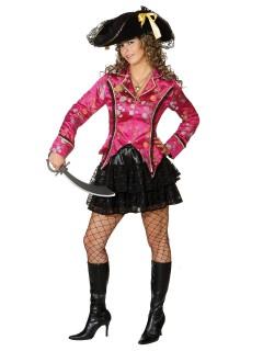Edle Piratin Seeräuberin Jacke Blumen-Muster pink-bunt