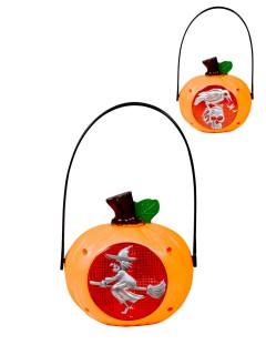 Halloween Kürbis Hängedeko mit Licht Rabe orange-rot-silber 13x23cm
