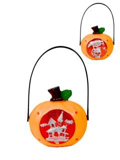 Halloween Kürbis Hängedeko mit Licht Hexenhaus orange-rot-silber 13x23cm