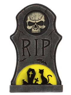 Grabstein Katze und Skelett Halloween-Deko grau-gelb 66x40cm