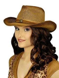 Cowgirl Hut mit Brosche braun
