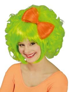 80er Bob-Perücke mit Haarschleife grün-orange