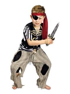 Kleiner Piraten-Junge Kinderkostüm schwarz-weiss-grau