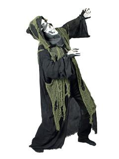 Schauriger Fetzen-Umhang Halloween grün-schwarz 150cm