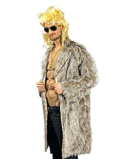Flauschiger 80er Mantel grau-braun