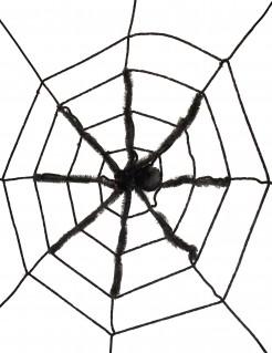 Schauriges Spinnennetz mit Riesenspinne Halloween schwarz-weiss 145cm
