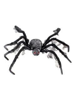 Gruselige Riesen-Spinne Halloween-Deko schwarz-grau 95cm