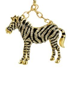 Halskette Zebra mit Schmucksteinen gold-schwarz 70cm